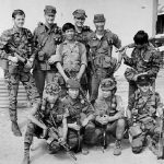 Front row kneeling at FOB 1 Phu Bai fall 1968, from left: Sau - Vietnamese team leader, Tuan - grenadier, Cau & Hiep - interpreter. Back row from left: Lynne M. Black Jr., Don Wolken, Phouc - point man, John S.Meyer, Robert J. Parks and Chau.