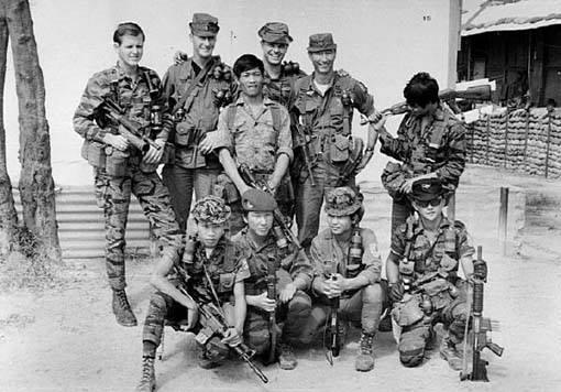 Front row kneeling at FOB 1 Phu Bai fall 1968, from left: Sau - Vietnamese team leader, Tuan - grenadier, Cau & Hiep - interpreter. Back row from left: Lynne M. Black Jr., Don Wolken, Phouc - point man, John S.Meyer, Robert J. Parks and Chau.