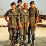 CCN recon area, April 1969, from left: Rick Estes, Me, Mark Gentry & Lynne M. Black Jr.