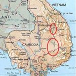 Tri-Border area and Central Cambodian border with Vietnam shown in red circles