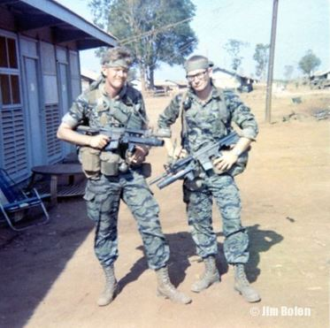 Sgt Lewelling and me with CAR-15's and XM-148 grenade launchers attached.