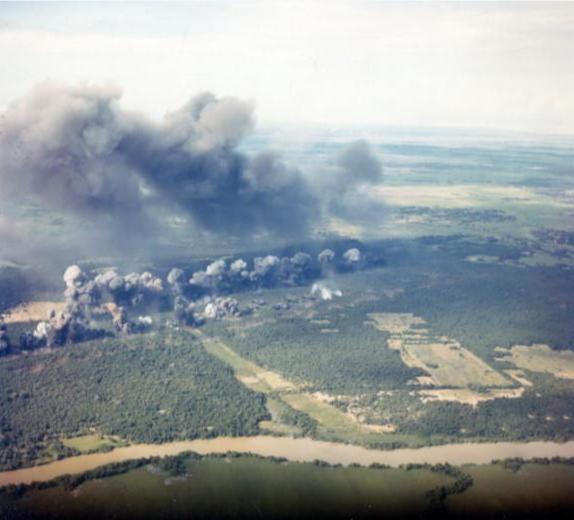 A B-52 strike during the Vietnam War.
