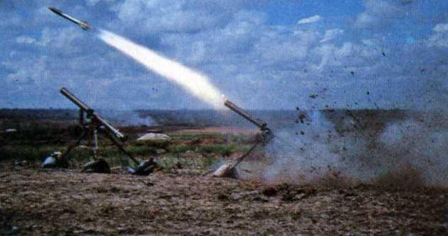 122 mm North Vietnamese rocket being fired.