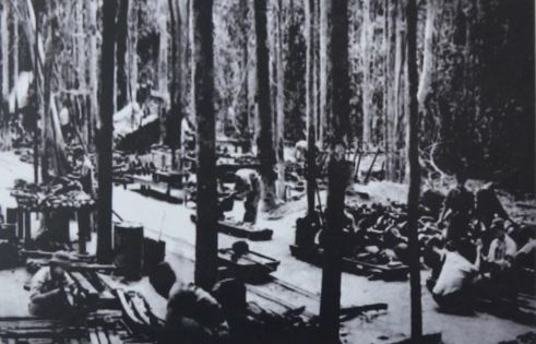 An NVA staging area and supplies depot along the Ho Chi Minh Trail.