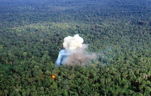 An air strike in the Laotian jungle