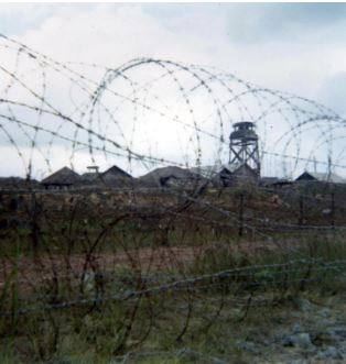 Concertina wire surrounding a US base in Vietnam.