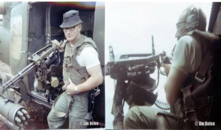 Individually mounted mini gun.The pilots would allow me to go with them on some missions and operate the mini guns when I was available. Notice the harness I am strapped into to keep me from falling out of the chopper.