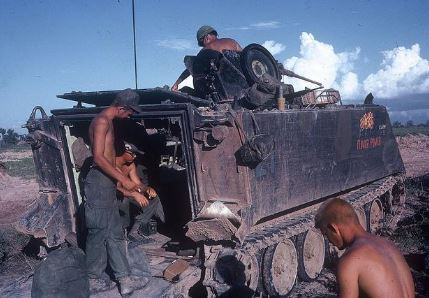 Inside an APC – Not much room for a rumble
