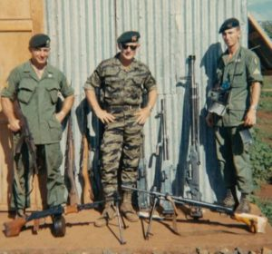 SSG Fisher, Me and SSG Carle. With a small selection of the many hundreds of weapons we destroyed. They included SKS small arms rifles, AK-47s, RPGs, PKM and RPDs and HMG .51 caliber small and large crew served machine guns.