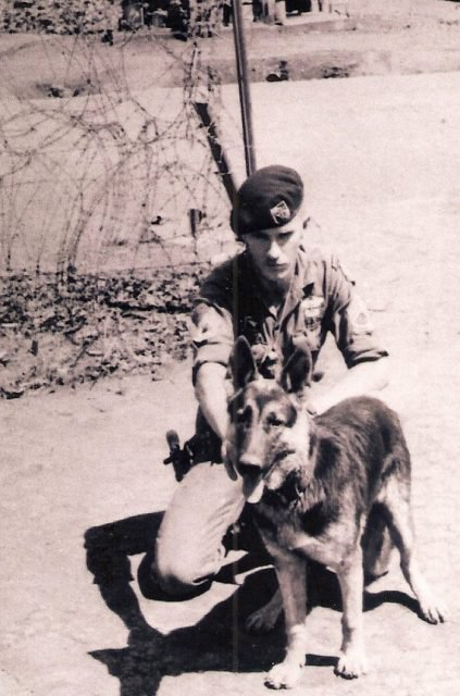 """Jerry and his companion """"Klaus"""" in Vietnam, 1969"""