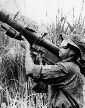 One of the risks facing choppers – an NVA soldier prepares to fire a shoulder-held SAM-7 missile (U.S. Air Force photo)