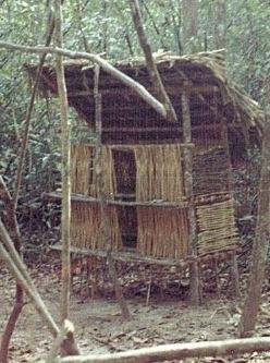 NVA structure, camouflaged from the air, in a staging area inside Cambodia