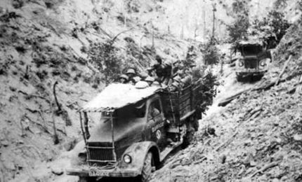 NVA trucks, troops and supplies moving down the Ho Chi Minh Trail