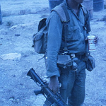 Point man Yuk...the sorcerer, then 18 years old. Right after he got off the choppers from the mission to look for NVN artillery. I had two other photos of the group as they unassed the choppers...both slides have gone missing.