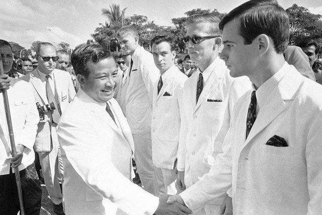 Prince Norodom Sihanouk, left, in Phnom Penh, 1968.