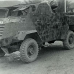 White armored car with a renault engine in FOB-2