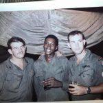 CCS '69 under the canopy in RECON barracks area Mike Pelaez, Walter E Hennix, Tony Love