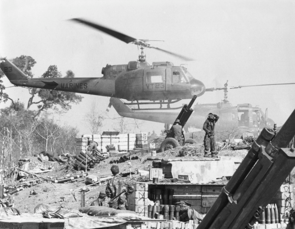 Marine UH-1Es at Fire Base Cunningham during Operation Dewey Canyon