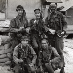 Larry Green and four of the team members made at the Phu Bai launch site in February 1970.