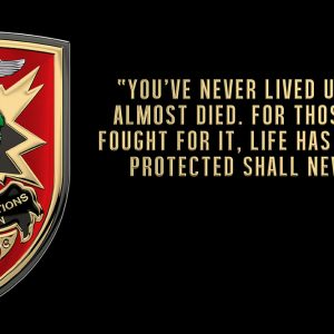 """Special Operations Association (SOA) """"You have never lived"""" All Metal Sign 18 x 9"""""""