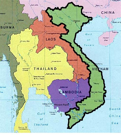 Map of Southeast Asia showing the proximity of China, Laos, and Cambodia to Vietnam